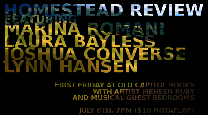 Homestead Review Launch Party! With Artist Meheen Ruby and musical performance by Bedrooms