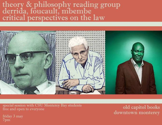 (CANCELLED) Theory & Philosophy Reading Group: Derrida, Mbembe, Foucault